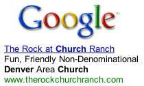 The Rock at Church Ranch Google ad screen shot
