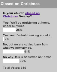 Is your church closed on Christmas Sunday?