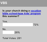 Is your church doing a vacation bible school-type kids' program this summer?