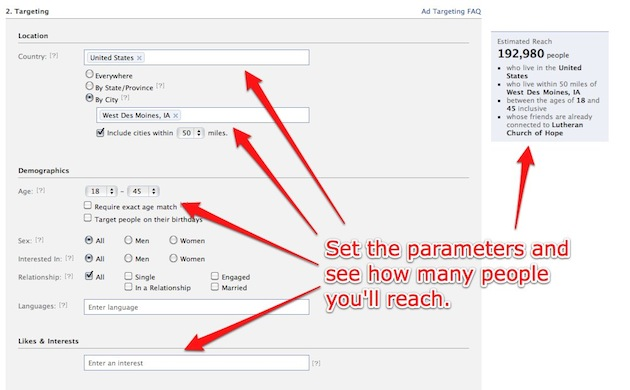 Set the parameters and see how many people you'll reach.