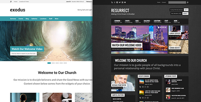 Exodus and Resurrect Themes from churchthemes.com