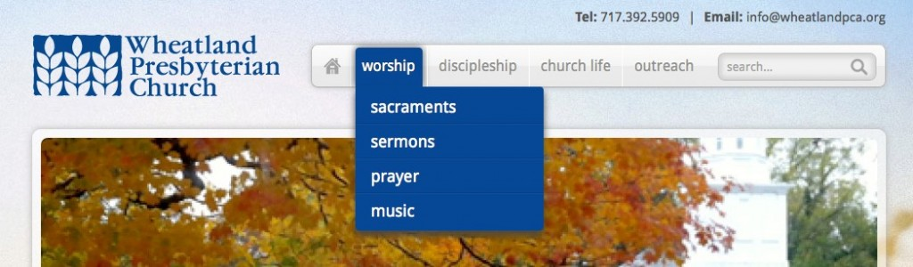 Church SEO: Menu example