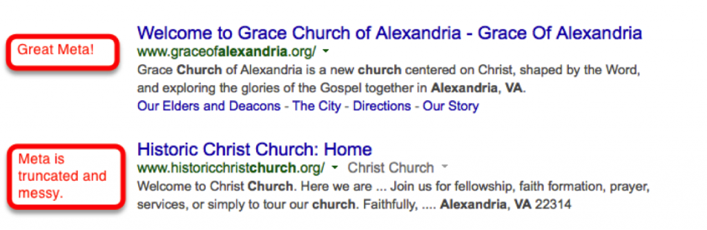 Church SEO: Meta comparison