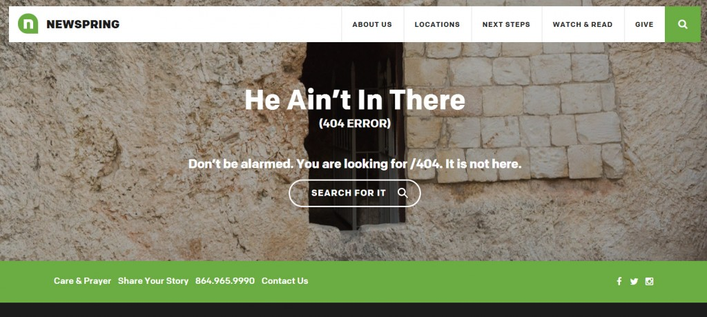Newspring 404 error page