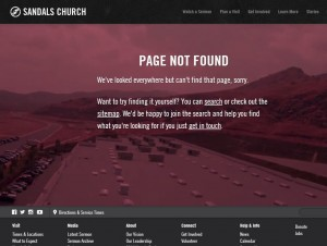 Sandals Church 404 error page