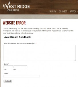 West Ridge 404 error page