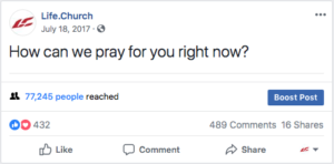 Screenshot: How can we pray for you right now?