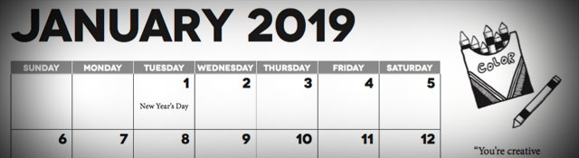 2019 Calendar for Church Communicators