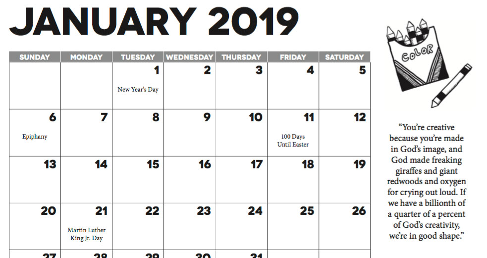 2019 Calendar for Church Communicators - Long Room