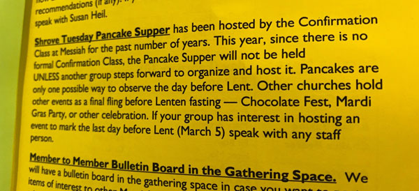 Pancake Supper announcement